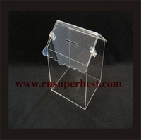 China supplier custom acrylic house shape donation box