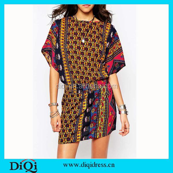 Vintage Floral Print Women Dress Casual Female short Sleeve Dresses Plus size Dress vestidos