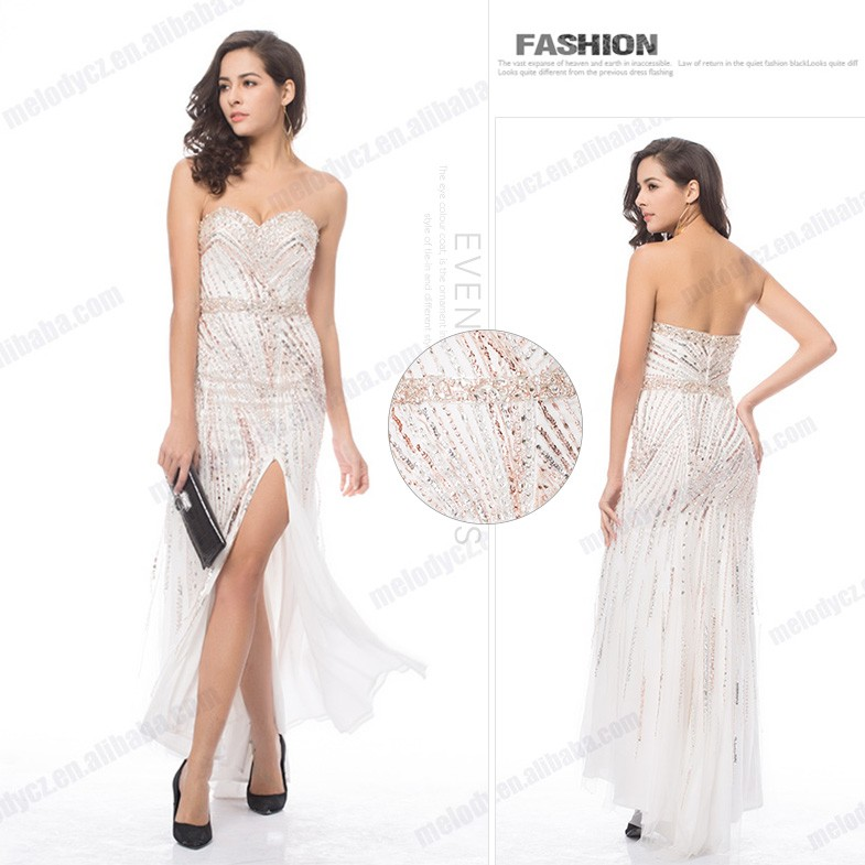White sleeveless backless paillette elegant summer party sexy dress 2016 new design