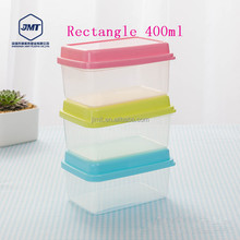 New Design Customized Logo Colorful Lid Rectangle 400ml storage plastic box 0135