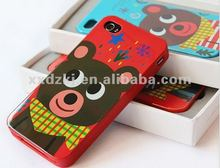 OEM CMYK Beautiful Animal Printing Silicone Case for Apple iPhone4S