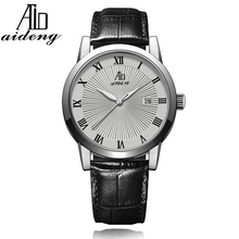 AIDENG men's classic quartz watch, leather strap watch with slim case design