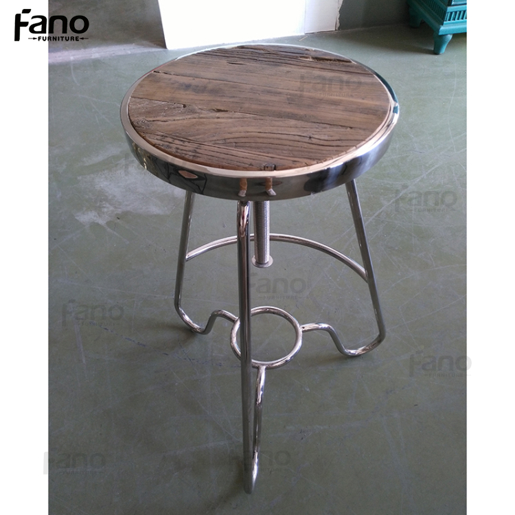 vintage swivel reclaimed wood stainless steel bar stool