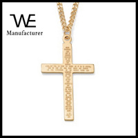 Religion Bible Lord's Prayer Gold-Filled Pendant And Gold Ion-Plated Chain 24
