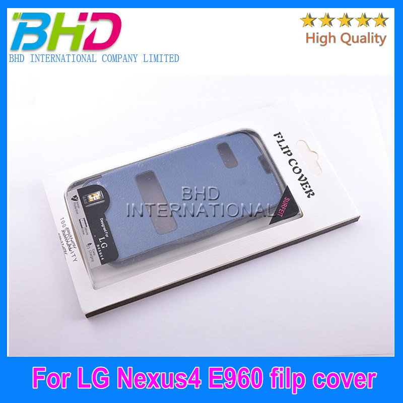 Mobile phone Flip stand leather case with card slot for LG E960 Nexus 4