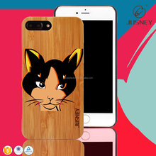 High end soft border real bamboo/wood custom cell phone case for iphone6s/6plus tpu with pc for i phone 7 case cover