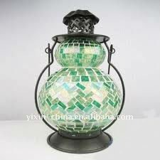 Green Mosaic Glass Lantern & Candle For Home Decoration