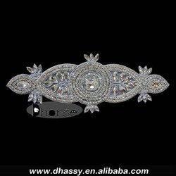 Wholesale supplier glass stone bridal belt crystal rhinestone diamond applique for garment