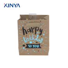 Top quality guaranted happy birthday slogan printed kraft brown paper gift bag