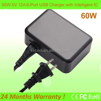 USB Charging Station 60W 6-Port USB Travel/Wall Charger with Smart-chip Technology for External Battery,Smart Phones