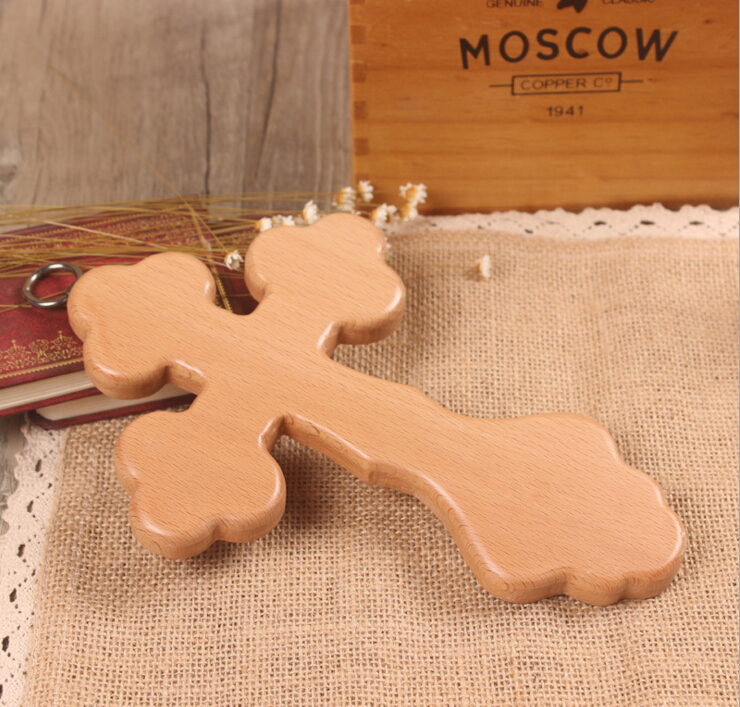 Wood Cross beech Wooden Craft Cutout Jerusalem Antique Style crucifix by Christianity
