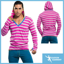 pink stripe pullover hooded sweatshirt vivid deep hoodie for men wholesale