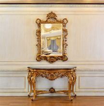 810 Baroque Room Decorative Framed Mirror with C270 Baroque Console Table