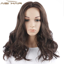 Top Quality Synthetic Long Wavy Style Wig Heat Resistant Dark Brown Color Wigs For Women