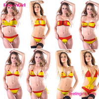 Big Stock OEM Ladies Spain Flag Sling Bikini Sex Model
