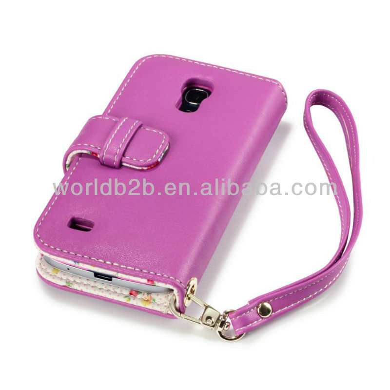 New Fashion Book Style Leather Phone Case for Samsung Galaxy S4 Mini i9190, with Card Slots and Lanyard