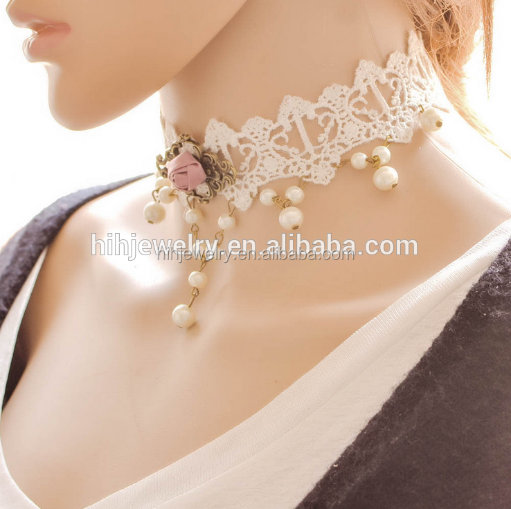 Trendy bridal fabric white lace choker collar wedding accessory