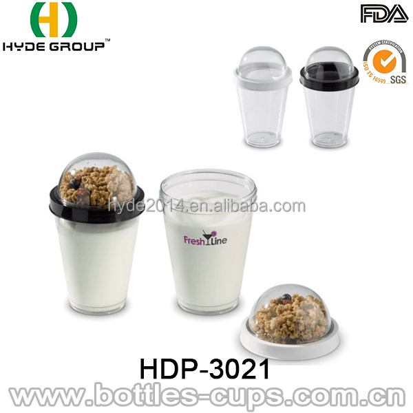 12oz Cereal Breakfast to Go Cup Plastic Cereal Cup Double layer Cup