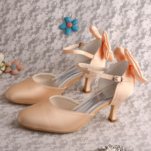 (20 Colors)Champagne Satin Dance Club Shoes Wholesale with Bows