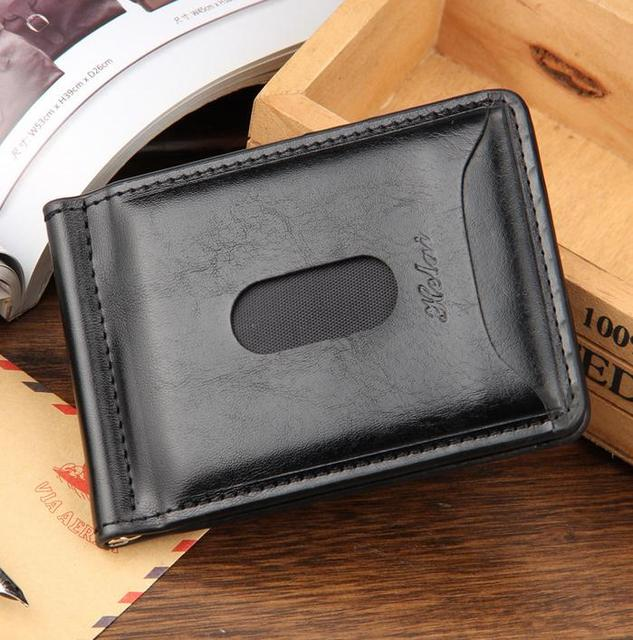 2016 Hot Sale Fashion New Men Money Clips Black Brown PU Leather 2 folded Open Clamp For Money With Zipper Pocket