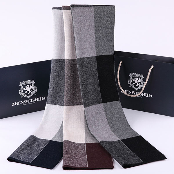 2015 fashion European style jacquard men's brushed silk scarf