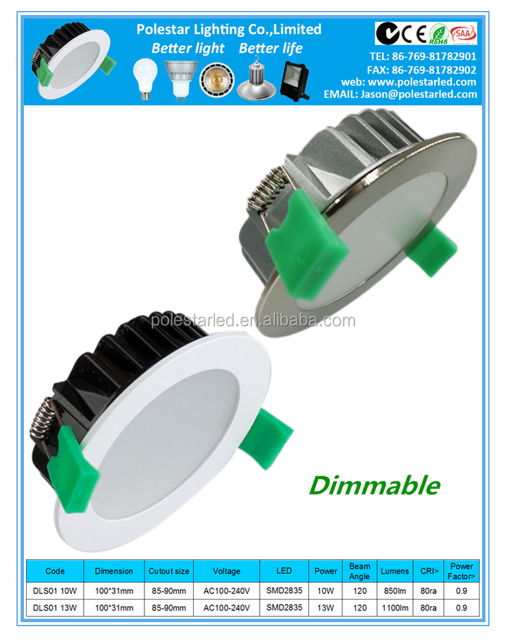 Good price dimmable SMD white flat round face led downlight 10w/13w