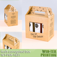 WT-PBX-1831 Kraft corrugated box with handle and window