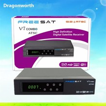 Latest set top box freesat V7 combo ATSC for North America Mexico US Canada support power via wifi dongle for set top box