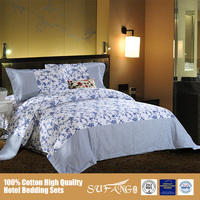 Elegant Reactive Printing Bed Linen Sets/100 Cotton Queen Size Flat Sheet/Bed Comforter Sets, Made in China