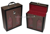 Top Quality Elegant Gift 2 Bottles Leather Wine Carrier