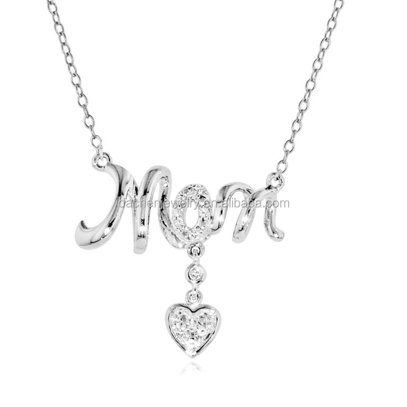 Fashion Jewelry i Love You Mother Gift Sterling Silver Gold Engraved Letter Pendants Necklace With Crystal