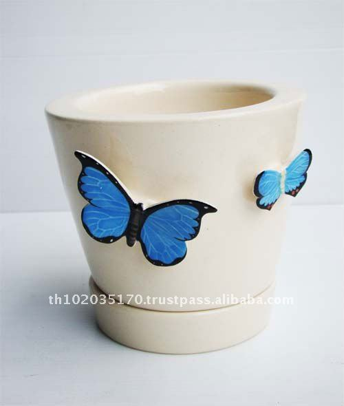 Ceramic Plant Pot with Butterfly