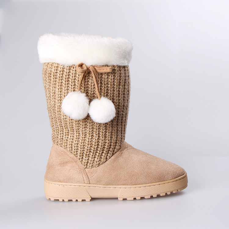 Knitted upper faux lambswool lining cheap winter boots for ladies