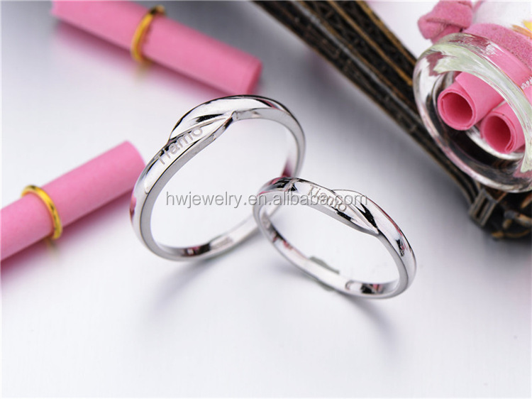 China jewelry manufactory 925 sterling silver engraved couple rings