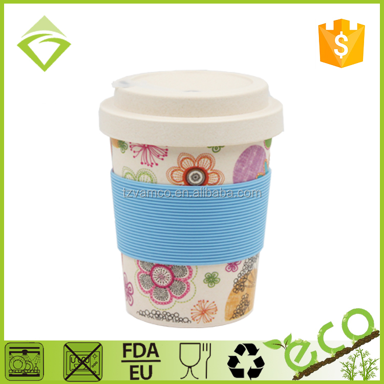 Manufactory Coffee Thermo Cup Bamboo Fiber Plastic Mug With Screw Lid