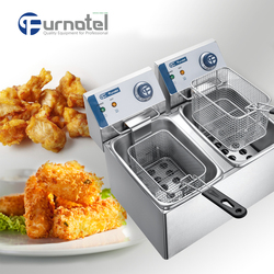 FURNOTEL Industrial Countertop Frying Machine McDonalds Electric Potato Chips Deep Fryer Machine 2-basket 8L