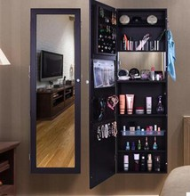 Wall mounted with makeup area mirrored jewelry cabinet