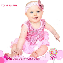 Top quality baby jumpsuit comfort sequin infant tutu skirted romper onesie