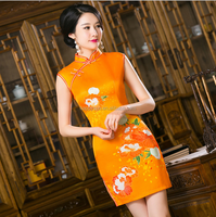 3317 Spring Summer hot sale elegant short sleeved improved silk cheongsam dress qipao
