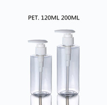 120ml 200ml Cylinder Clear PET Plastic Soda Bottles With White Lotion Pump