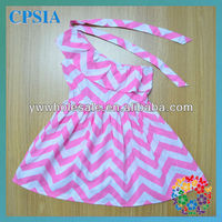 Hot sailing sweet baby girl party dress green striped one shoulder chevron dress
