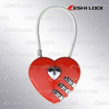 Heart Shape Combination Lock With Cable