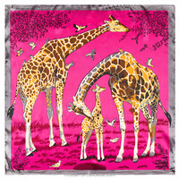 60cm*60cm free shipping European and American brand giraffe animal print silk ladies small square scarves wholesale
