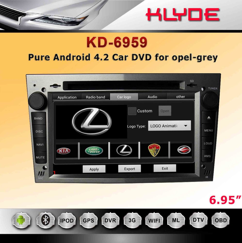 Touch Screen 6.95'' double din car dvd opel vectra with bluetooth usb