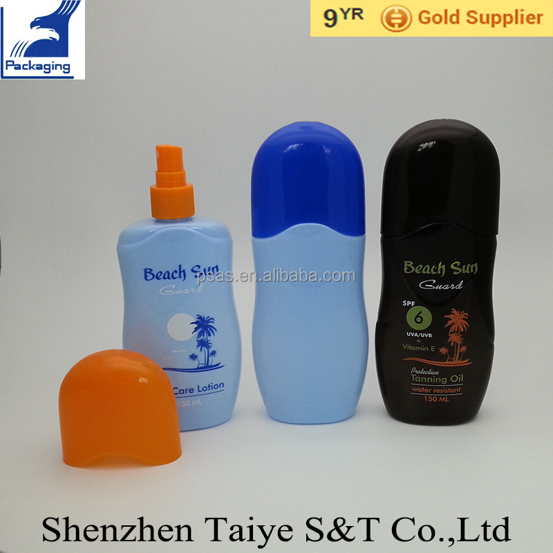Flat 150ml Suncare Lotion Sunscreen Oils Bottle with Double Cap