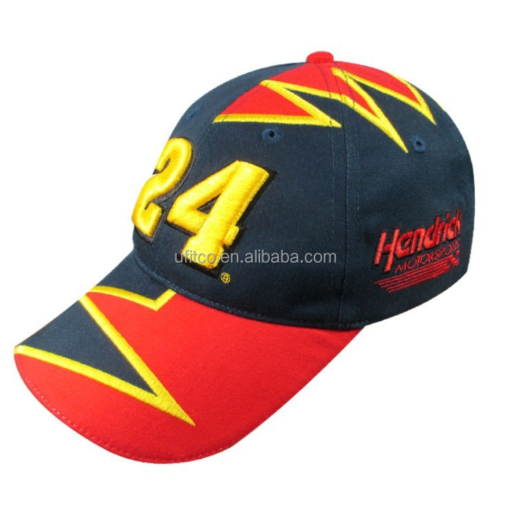 3d embroidery racing hat, nascar cap and hat, formula 1 cap