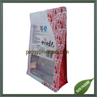 Flat bottom zip closuresquare bottom food pouch bag with clear window