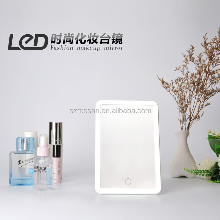 Simple Plastic Desktop Cosmetic LED Stand Mirror Round / Square Shape , LED Mirror With 36 Lights