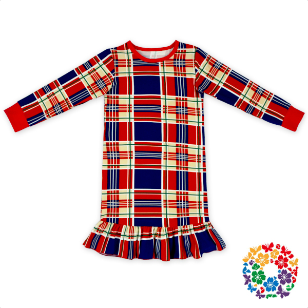 Plaid Print Baby Frocks Long Sleeve Ruffle Dresses Soft Touch Girl Fancy Frocks