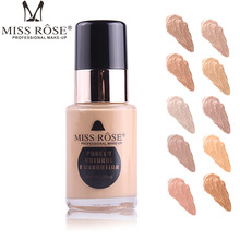 MISS ROSE Professional Waterproof Purely Natural Smooth Liquid Face Foundation 30ML Glass Bottle